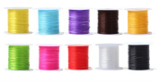 Outf Lower 10 Rolls Mixed Colour Crystal Elastic Cord Strong Elastic Beading Thread Cord 0.6 mm DIY Jewellery Making