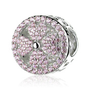 ATHENAIE 925 Sterling Silver Pave Pink CZ Petals of Love Bead Charms