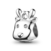 ATHENAIE 925 Sterling Silver Lovely Christmas Reindeer Bead Charms