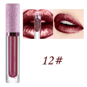 Prevently Fashion Women Glitter Lip Makeup Waterproof Lip Gloss Nude Glitter Shimmer Lipstick Diamonds Long Lasting Lip Cosmetic Beauty Makeup