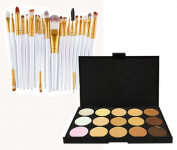 Glamza 20pc White Eye And 15pc Contour Pallet Eye Makeup Brush Set
