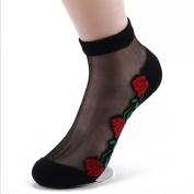 Pinzhi Lace Black Socks Crystal Glass Silk Short Thin Transparent Women Roses Flower