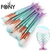 Makeup Brush Set,LUVERSCO 11PCS Make Up Fashion Mermaid Eyeshadow Foundation Eyebrow Eyeliner Blush Cosmetic Concealer Brushes Tool