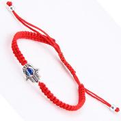 PetHot Bracelet Weave String Evil Eye Kabbalah Charm Hopeful Silver Red