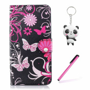 Huawei Honour 7X Case Pink butterfly Wallet Magnetic Closure Stand Phone Flip Cover For Huawei Honour 7X With Two Gifts