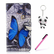 Xiaomi Redmi Note 5A / Note 5A Prime Case Blue butterfly Wallet Magnetic Closure Stand Phone Flip Cover For Xiaomi Redmi Note 5A / Note 5A Prime With Two Gifts