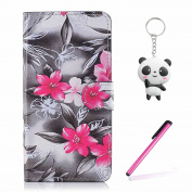 Xiaomi Redmi Note 5A / Note 5A Prime Case Red flower Wallet Magnetic Closure Stand Phone Flip Cover For Xiaomi Redmi Note 5A / Note 5A Prime With Two Gifts