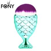 Unicorn Chubby Fish Style FishTail Purple Hair Round KaloryWee Beauty Liquid Foundation, Face Contour, Concealer, Blush, Blending Makeup Brush 1pc Green