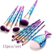 Makeup Brush Set, KaloryWee Beauty Tools 10pcs Mermaid Synthetic Kabuki Cosmetic Brushes Kit + 1 pc Professional Chubby Fishtail Bottom Blush Brush for Foundation Powder Blush