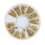 waga^life Gold Nail Art Decorations Metal Glitter Manicure 3D Nail Stickers Decals DIY Nail Accessories Mixed Size