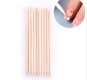 Teemico 100 Pieces Orange Wooden Stick for Nail Art and Cuticle Pushed Back Cuticle Pusher Remover Pedicure Manicure Care Tool