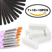 Ejiubas Nail Files 10PCS 100/180 Grit & 10 PCS Nail Buffers Block with 7PCS UV Gel Acrylic Nail Brush Nail Builder Brush Nail Art Care Nail Tools