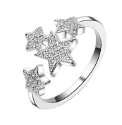 AIUIN Star Diamond Silver Ring Crystal Adjustable Open Rings Wedding Jewellery for Women X 1Pcs