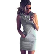 Deloito Super Fashion Womens Summer Casual Sleeveless Hoodie Dress