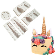 Unicorn Horn Silicone Mould with Ears and Eyes Set for Fondant Chocolates Candy Gumpaste DIY Cake Toppers