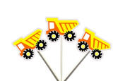 Construction DUMP TRUCK Orange and Yellow Cupcake Toppers