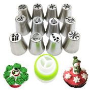 Wocuz Russian Piping Tips 12 PCS Christmas Limited Edition Stainless Steel Nozzles Icing Tips For Cake Cupcake Decorating Set Kit Tips Baking Supplies Set