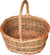 Red Hamper Small Rustic Oval Shopping Basket, Wicker, Brown, 24 x 33 x 15 cm