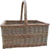 Red Hamper Triple Weave Butchers Shopping Basket, Wicker, Brown, 34 x 45 x 22 cm