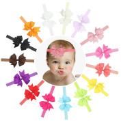 Baby Headband, HBF 15Pcs Multi-Coloured Bow Baby Girl Headband Elastic Headband for Girl