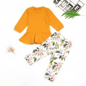 Kids Outfits Set,2PC Toddler Kids Baby Girls fashion flowers bell-bottoms Solid Tops+Floral Pants Outfits Set