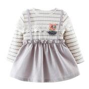 Kids Long Sleeve Dress,Dorame Cute Toddler Kids Girls Long Sleeve Princess Lace Striped Bubble Dress Dress