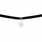 Tata Gisele Black Velvet Choker Necklace Choker – Silver 925/000 Rhodium-Plated Cubic Zirconia Snowflake Pendant