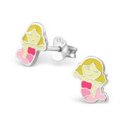 Tata Gisele© Children's Earrings Rhodium-Plated Silver 925/000 and Epoxy – Mermaid – 7 x 8 mm
