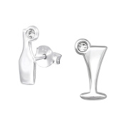 Tata Gisele© Earrings in 925/000 Rhodium-Plated Silver and Crystal – Cocktail Glass