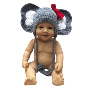 Minshao Newborn Baby Girl Boy Photography Prop Bow Photo Crochet Knit Elephant Hat For 0-6 Months