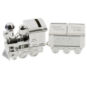 Bambino Silver Plated Train Money Box with Tooth, Curl Pot Carriage Baby Present
