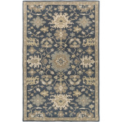 0.6m x 0.9m Classical Caesar Denim Blue and Beige Hand Tufted Wool Area Throw Rug