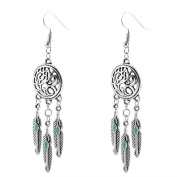 Minshao Vintage Tribal Feathers Antique Silver Turquoise Dream Catcher Dangle Earrings