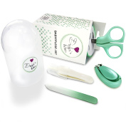 Baby Care Set with Baby Nail Scissors, Baby Nail Clippers, Glass Nail File and Nose Tweezers In Security Box