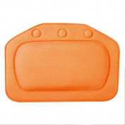 Merssavo Comfortable Bath Tub PVC Foam Pillow Pad Headrest Inflatable Pillow Suction Cups -Orange