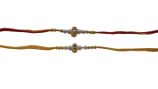 Set of Two Rakhi, 2 Stone and 10 Breeds Thread. Rakhi, Raksha Bandhan Gift for your Brother, Yellow & Red Colour Thread,Colour Vary and Multi Design