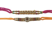 Set of Two Rakhi, Rudraksha in Circle And 7 Stone Rakhi thread, Raksha bandhan Gift for your Brother, Yellow and Pink Colour Thread,Colour Vary and Multi Design