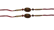 Set of Two Rakhi, Swastik Design Rakhi thread, Raksha bandhan Gift for your Brother, Red Colour Thread,Colour Vary and Multi Design