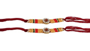 Set of Two Rakhi, Stone With Rudraksha Design Rakhi thread, Raksha bandhan Gift for your Brother, Maroon Colour Thread,Colour Vary and Multi Design