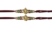 Set of Two, Ganesh Design, Rakhi thread, Raksha bandhan Gift for your Brother, Maroon Colour