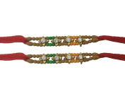 Set of Two Rakhi, Stone & Moti, Thread. Rakhi, Raksha Bandhan Gift for your Brother, Red Colour Thread,Colour Vary and Multi Design
