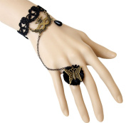 Cdet Ring Wrist Bracelet Women Black Lace Butterfly Gothic Bangle Chain Handlace Jewellery Accessories