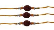 PMK Set of Three Rudraksha Rakhi yellow Colour Thread. Raksha bandhan Gift for your Brother.Colour Vary and Multi Design