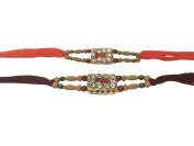 PMK Set of Two Stone Rakhi thread, Raksha bandhan Gift for your Brother, Orange and Maroon Colour Vary and Multi Design