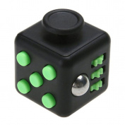 Black/Green Fidget Dice Toy 6 Sides Release Stress Anxiety and Relax Focus Attention Therapy Tool Hand Desk Fidget Cube Toy for Children and Adults by SamGreatWorld