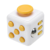 White/Yellow Fidget Dice Toy 6 Sides Release Stress Anxiety and Relax Focus Attention Therapy Tool Hand Desk Fidget Toy Toy for Children and Adults by SamGreatWorld