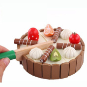 Needra Magnetic wood Cutting Fruit Cake Pretend Play Children Kid Educational Toy