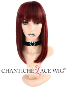 Chantiche Women's Burgundy Wig Straight Short Bob Synthetic Hair Wig for Women Machine Made Full Wig with Bangs Heat Resistant