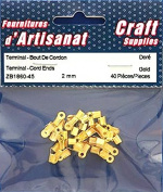 TERMINAL CORD ENDS 2 mm GOLD COLOUR 40 pieces Arts & Crafts