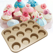 12 Cup Mini Cupcake and Muffin Pan, Carbon Steel Bun Cupcake Baking Bakeware Mould Tray Pan/Mould Kitchen Oven